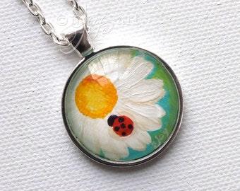 "Daisy & Ladybug Hand Painted Pendant, 1"" round mini acrylic painting set in a pendant tray"