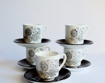 Grindley Manitou Teacups and Saucers Set of Six