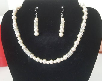 Wedding jewelry, wedding necklace,pearl wedding necklace, bride jewelry, Mother of the bride jewelry.