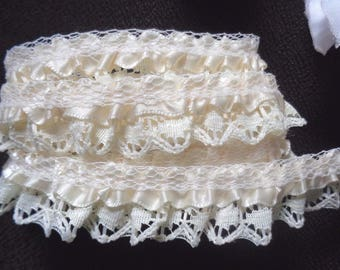Satin Ruffle Lace Trim 3/4 inch wide ivory/ivory price per yard