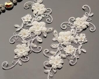 Off-White Lace Applique Pair/Alencon Lace Applique/Boho Wedding Dress/Bridal Applique/Lace Wedding Dress/Bridal Headpiece By Pair/ALA-15