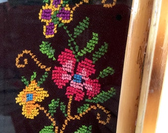 Floral Cross Stitch - Black with Colorful Flowers in Pink, Yellow, Orange, Green Leaves - Glass and Tan Wood Frame - Vinatge Decor Tray