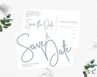 Dusty Blue Save the Date Postcard Template| Save the Date Postcard|Save the Date Template | Printable and Editable |Save the Date Cards