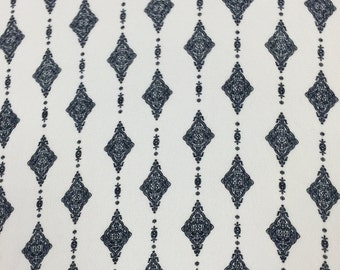 97 poly 3 Spandex Boho White Navy 58-60 in w Fabric by the yard