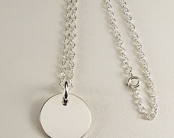 Monogram Jewelry Custom Engraved Personalized Sterling Silver 3/4 Inch Round Monogram Necklace - Hand Engraved