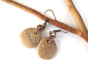 River Stone Earrings Beach Stone Earrings Mediterranean Beach Pebble Natural Rock Rustic Jewelry Beach Pebble Copper COGNAC