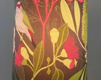 Australian flora and fauna lamp shade, eucalyptus lamp shade, australian native bird lamp shade, australian native plants lamp shade,