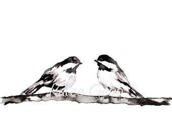 Chickadee Painting, Bird Print, PRINTABLE DIGITAL DOWNLOAD, Black and White Bird Painting, Minimalist Wall Art, Bird Wall Art, Ink Painting