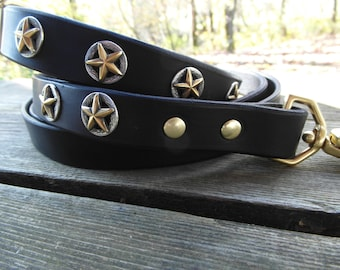 Leather Dog Collar and Leash Set - for large dogs, black with conchos