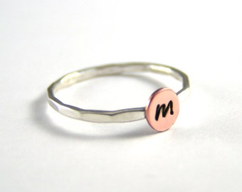 Custom Initial Ring Stack Ring Copper Ring Personalized Initial Ring Silver Stack Ring Hammered Band Personalized Ring Choice Of 1