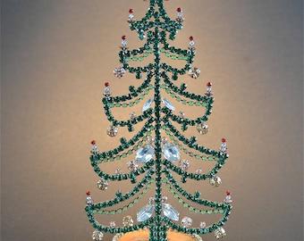 Beautiful vintage hand made glass jewelled miniature Christmas tree ornament mantle decoration
