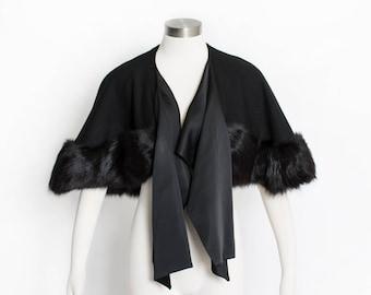 Vintage 1960s Caplet - Black Wool + Fox Fur Wrap Cape 50s - Small / Medium