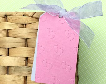 Pink Baby Feet gift tags or swing tag. Embossed - Baby girl gifts, baby shower favors, new parent advice tags. Large gift tag, pink & white.