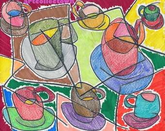 Drawing by artcollectown: Objects VI (Cups & Saucers) (2014)