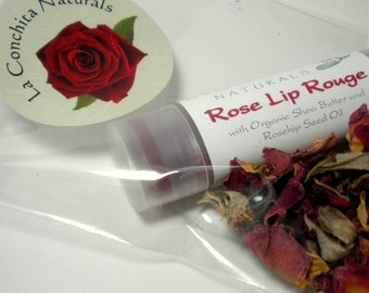 Gift Ready Rose Lip Tint with Rose Petals - Organic, Eco Friendly Botanical Color and Moisturizing Treatment