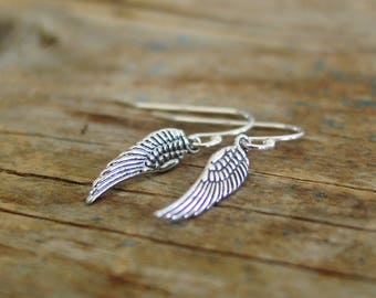 Sterling Silver Angel Wing Earrings, Angel Wing Jewelry, Wing Earrings, Sympathy Gift, Remembrance, Inspirational Gift For Her, Angel Wings