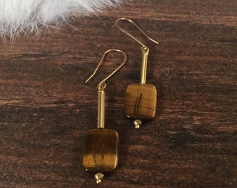 Tiger Eye Rectangular Earrings