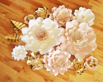 Paper Flowers Set of 11 - Large Paper Flowers | Baby Nursery | Wedding Decorations | Paper Flower Wall | Flower Backdrop | Baby Room Ideas