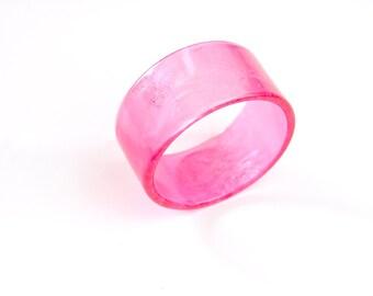 Candy pink 1980s super wide plastic cuff bangle. 1980s.