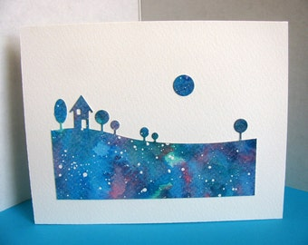 Watercoloured Landscape Silouette with Moon on Creamy Ivory Card / Turquoise, Teal, Blue Shades / A2 Size / Ready to Ship