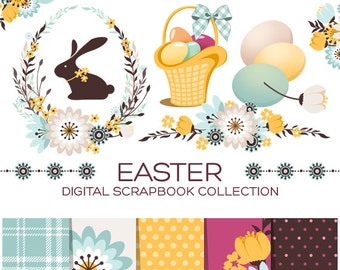 Easter Clipart Easter Planner Stickers Holiday Clipart Bunny Clipart Rabbit Clipart Animal Clipart Baby Clipart Easter Eggs Clipart- CE00003