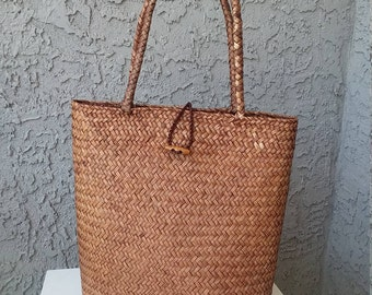 Skinny Seagrass Tote, woven natural handmade