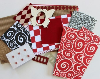 Rot oder Neutral Leinwand Corp Sampler Pack-1 / 4lb von Papier, Metall, Stoff Ephemera für Sammelalben, Collagen & Papier Kunst
