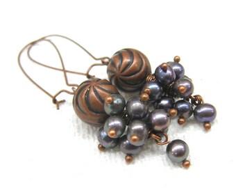 Copper Anniversary gift for wife Beautiful pearl earrings long copper earrings Dark pearls jewelry gray freshwater pearl wedding  earrings