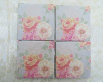 Pretty floral ceramic coasters - set of 4