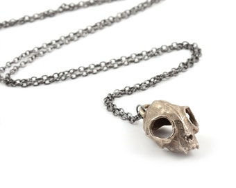 Cat Skull Necklace in Old Steel - A steel cat skull necklace on a gunmetal chain to adorn your neck