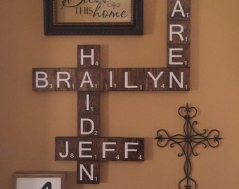 """3.5"""" Wooden Scrabble letters for Wall Decor, Scrabble Tiles, Scrabble Letters, Wall Scrabble Blocks, Rustic Wooden Scrabble, Distressed"""