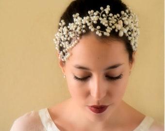 Crown hair jewelry, Bridal, Swarovski, freshwater pearls