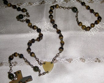 Antique Brown Horn Rosary, Made in Dublin