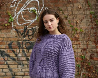 Sweater handmade 100% wool  Lilac