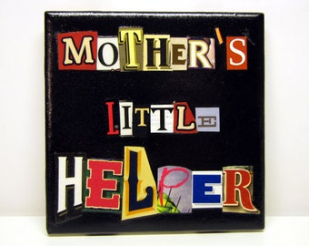 Mother's Little Helper - Recycled Ceramic Coaster, OOAK Beer Package Letter Collage, Black, Wine Cork, Mother's Day, Mug, Cup, Glass