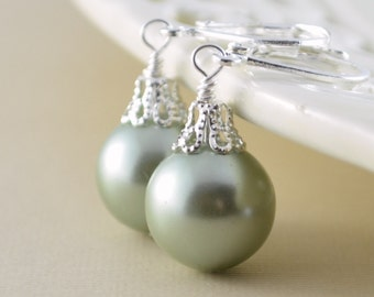 Mint Green Earrings, Large Glass Pearls, Christmas Balls, Silver Plated Lever Earwires, Fun Holiday Jewelry