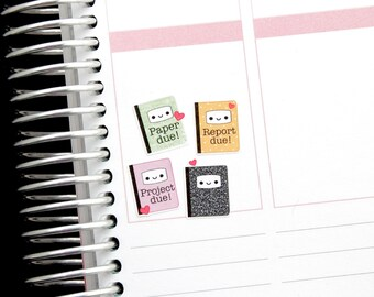 Happy Report Due Reminder Tracker Cute Kawaii Planner Stickers Erin Condren Midori Notebook Calendar Funny Homework Project Paper School