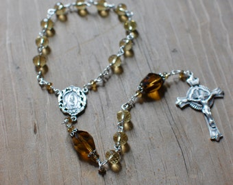 Whiskey Quartz and Sterling Silver Chaplet