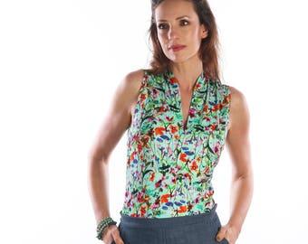 womens shirt - Womens tops - summer top - floral -  floral sleeveless top - sleeveless shirt - summer blouse