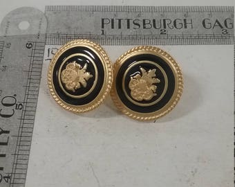 Used pair of Goldtoned and enamel post earrings
