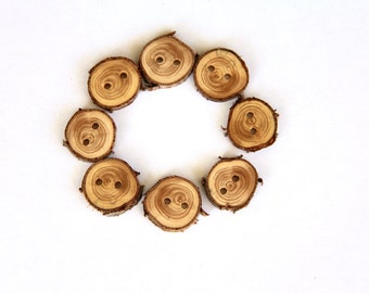 """8 small juniper buttons - 7/8"""" - with bark"""