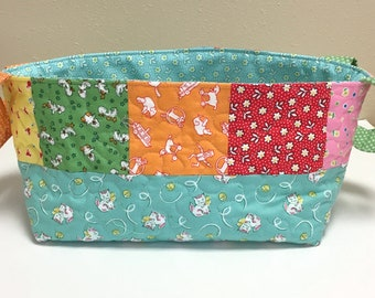 Nursery Caddy-Fabric Basket-Quilted Diaper Caddy-Organizer-Shower Gift Basket-1930s Feedsack