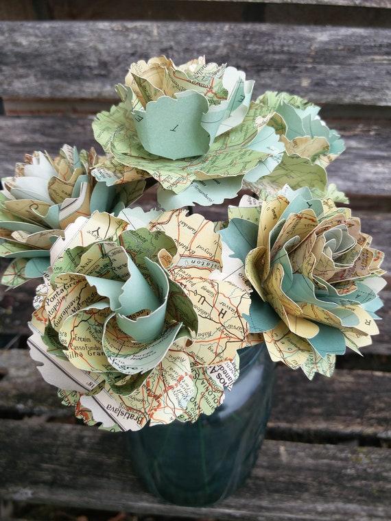 Map Flowers, Half Dozen. Roses & Dahlias. Centerpiece, Wedding, Paper Flower Bouquet