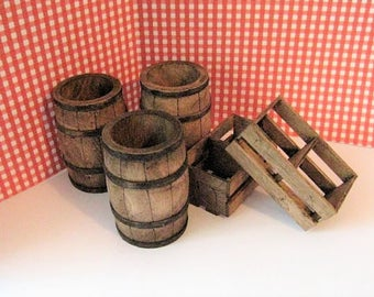 A dollhouse Set of  two crates and three barrels, in twelfth scale, a dollshouse miniature