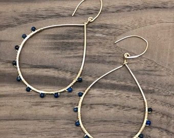 14 kt Gold Filled Tear Drop Earring with Lapis Beads