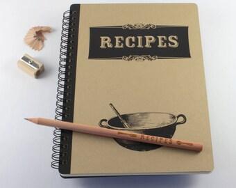 "Large Notebook ""Recipes"", Spiral Bound Notebook"