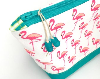 Flamingo Large Cosmetics Bag, Recycled Canvas Zipper Pouch, Diaper Bag Organizer, Eco Make Up Bag + Glass Bead Tassel, Holiday Gift for Mom