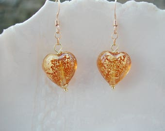 Amber Murano Glass Heart Earrings