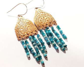 Beaded Dangle Earrings, Etched Copper  - Free Domestic Shipping