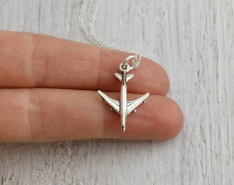 Airplane Necklace - Sterling Silver Airplane Charm Necklace - Jet Necklace - World Traveler Gift - Flight Attendant Gift - Pilot Necklace